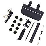 Mini pompe à vélo manuelle avec kit de réparation de crevaison sans colle, kit de montage, extension du tube de gonflage adapté à la valve Presta Schrader Outil d'assemblage de pièces de vélo