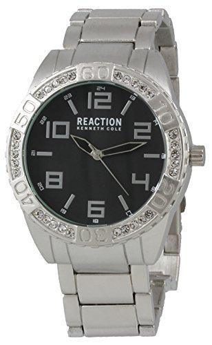Kenneth Cole Reaction analogico orologio uomo rotondo con cristalli silver-tone strap 10031249