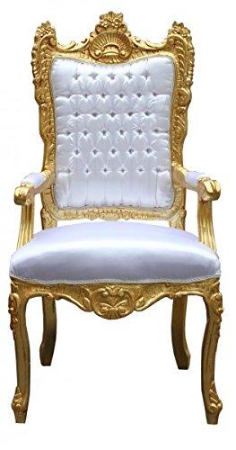 Casa Padrino Barock Thron Sessel Weiß/ Gold - Unikat - Königssessel-...
