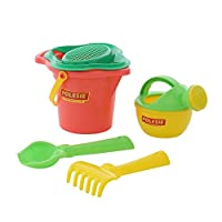 Polesie 4924 351, Flower Sieve, Shovel, Rake No.2, Watering Can No.3-Sets: Lipped Bucket, Small, Multi Colour