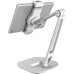 ZenCT Support pour Tablette, Support pour Tablette de Bureau avec Base Lourde et Bras en métal à 2 Niveaux, pour tablettes de 4 à 11 Pouces, lecteurs E-L et Smartphones (Blanc)