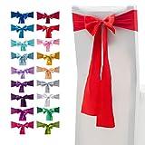 10pezzi elastico stretch spandex coprisedia fasce Fasce fiocchi con fiocchi di raso per matrimonio casa decorazione per feste 10 pezzi Red