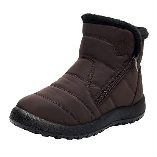 feiXIANG Damen Stiefel Trekking Wanderstiefel Kurze wasserdichte Schneeschuhe Winter Verdicken Warme Schuhe Winterstiefel (Braun,35)
