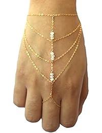 S y mujeres e/oro plateado de Metal pulsera de cadena de borlas de esclavo del anillo de dedo de cadena de la mano