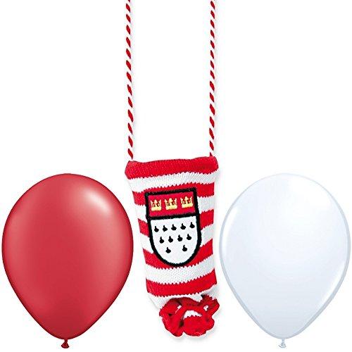 Preisvergleich Produktbild Kölschglashalter - Kölle,  Kölner Karneval + 2 Gratis Luftballons Rot & Weiß Ø 30 cm - partydiscount24®