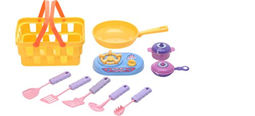 Childrens Kitchen Playset for Pretend Play For Boys Girls Kids Cookware Set with Shopping Basket