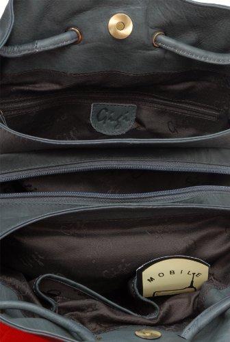 """Schultertasche Leder """"Othello"""" von Gigi - GRÖßE: B: 27-32 cm, H: 24 cm, T: 8 cm Patinum (Grau)"""