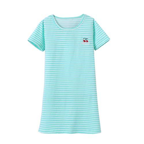 Innerternet MäDchen Gestreiftes Sommerkleid Kirschdruck Blumenprint Streifen Tiere T-Shirt Kleid Midi Kleider Kurzarm Kleidung Pyjamas Nachtwäsche Nachthemd 2-8 Jahre - Große Kinder-eis-blau-kleidung