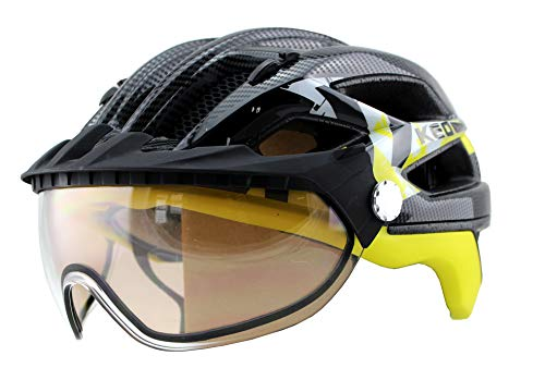 KED Covis Fahrradhelm - Allround-Helm in robuster maxSHELL- Technologie, Quicksafe- und Quickstopp-System - Black Yellow M