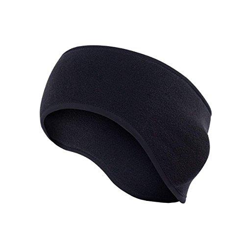 mxdmai Damen Herren Ohr Wärmer Winter Kopfband Polar Fleece Ski Ohrenschützer Elastisches Haarband für Unisex Erwachsene, Schwarz - Winter-polar-fleece