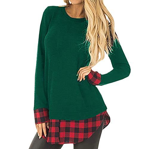 QinMM Sudadera A Cuadros De Mujer, Jersey De Patchwork Suelto De Manga Larga Casual Sweatshirt (Verde, M)