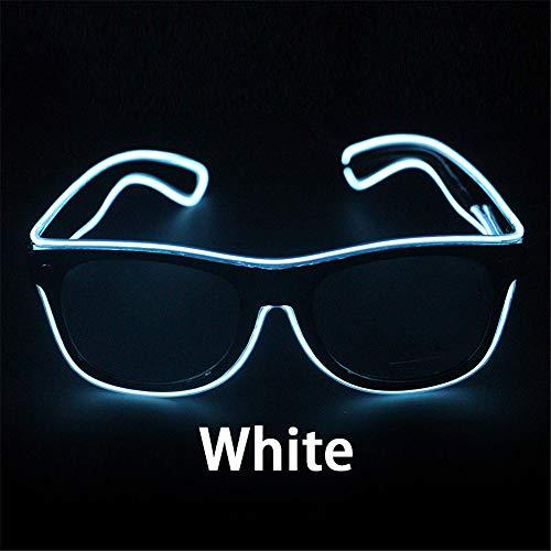 YOZOOE Blinkende Gläser EL-Draht-LED-Glas-glühende Partei liefert Beleuchtungs-Neuheit-Geschenk-helles Licht-Festival-Partei-Glühen-Sonnenbrille Kinderzimmer Nachtlichter (Farbe : White)