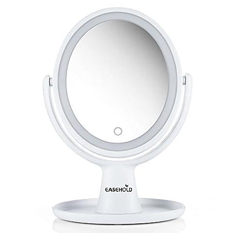Easehold Schminkspiegel LED Beleuchtet mit Doppelseitiger Vergrößerungsspiegel 1X/ 5X, 360° Schwenkbar, Vanity Mirror Make-Up-Spiegel mit Blendfreier Beleuchtung Für Make-Up, Rasieren, Kosmetikspiegel (Doppelseitige Beleuchteter Make-up-spiegel)