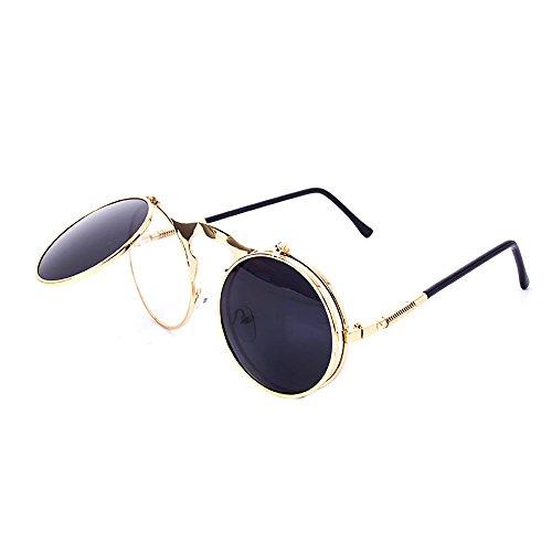 Dawnzen® Double Layer Lunettes Steampunk Femme Hommes 50s Rond Lunettes Miroir Goggles C3