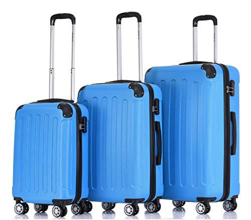 BEIBYE 2045 Hartschale Koffer Kofferset Trolley Reisekoffer Größe XL-L-M in 12 Farben (Türkis, Set)