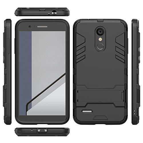 tinyue® Handyhülle für LG K9, Hülle 2 in 1 Material Harte Schwer doppelte kratzfester Handyfall im Freienhandyfall Iron Man Rüstung mit Kickstand Case, Schwarz -