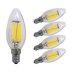 Sagel C35 E14 LED Kerze Leuchtmittel 6W, Entspricht 60W Glühbirnen, 6000K Kühle Weiß Kandelaber E14 Leuchtmittel, Dimmbar, 600lm, Kleine Edison Schraube Kerze Lampen, 5er Pack