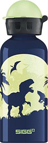 SIGG Glow Moon Dinos Kinder Trinkflasche, schadstofffreie Kinderflasche mit auslaufsicherem Deckel, federleichte Trinkflasche aus Aluminium, 0.4l