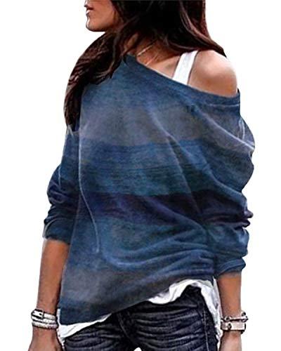YOINS YOINS Sexy Schulterfrei Oberteil Damen Shirt Off Shoulder Top Pullover Damen Rollkragen Langarm Gestreift Pulli Lose Tshirt Hemd A-Blau EU32-34