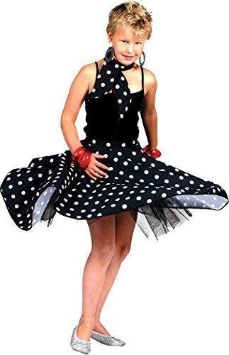 Mädchen Kleid Kostüm Party Buch Woche Tag Gepunktet Tanz Rock 'N' Roll Rock & Schal - Schwarz, (Bücher Kostüm Tanz)