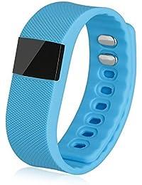 NOUVEAU TW64 étanche Bluetooth 4.0 montre Smart Watch Smartband Smartwatch podomètre Anti-perdu pour iOS Android Smartphones (Bleu)