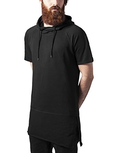 Sweatshirt Turn-up (Urban Classics Herren Kapuzenpullover Shortsleeve Long Raglan Hoody, Schwarz (Black 7), Large)