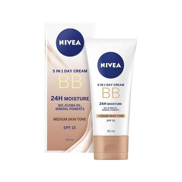 NIVEA Diarios Esenciales BB Cream 5-en-1 Beautifying Crema hidratante con SPF 10, medio a oscuro 50 ml – Paquete de 3