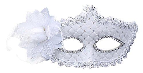 Cloud Kids Damen Venezianische Maske Masquerade Maske Cosplay Maske für Halloween (Weiß)