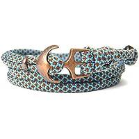 HanseCharms - Maritimes Surfer Anker Armband-aus US Paracord Typ III-Armband-Verstellbar-Unisex-Wickelarmband-Geschenkidee-Neon Turquoise-Chocalate Brown Diamonds