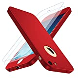 Losvick Coque iPhone 5/5S, iPhone Se Housse 360° Complète PC Matière [2× Film de Verre trempé] Étui 3 en 1 Antichoc Ultra Mince Case Anti-Rayures, Bumper Protection pour iPhone 5/5s/SE - Rouge