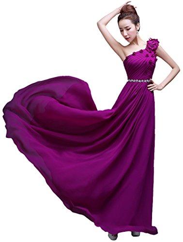 Beauty-Emily One-Shoulder-Kleid, lang, bodenlang, Brautjungfer Violett - Violett