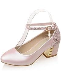 ZHZNVX Scarpe da donna PU (poliuretano) Primavera/Estate Comfort Heels Chunky Heel Nero/Beige / Rosa, Beige, US7.5…