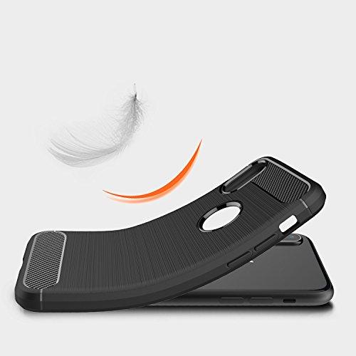 iPhone X Caso In fibra di carbonio manicotto protettivo in gomma morbida di TPU moda manicotto protettivo è molto sottile (antigraffio) per liPhone X caso (Rosso) Blu