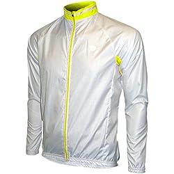 Eltin Protect Chubasquero Corta Viento Ciclismo Para Hombre Blanco/Amarillo Talla L
