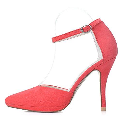 Elobaby Scarpe da Sposa da Donna Novità K0255-21 Abito da Sposa da Damigella D'Onore Stiletto Basso Medio Chiuso a Dita dei Piedi Pink
