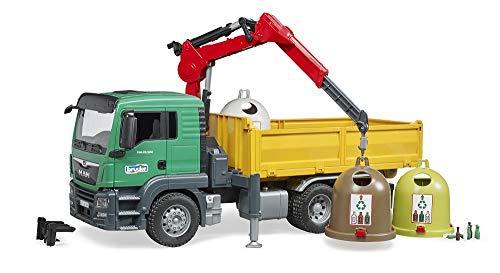 bruder 3753 Man TGS LKW mit Ladekran und Altglascontainer, Mehrfarbig