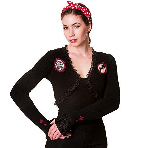 Banned Donna Gemme Steampunk Bolero con pizzo sulla schiena-Skull Lace cameo Portrait nero L