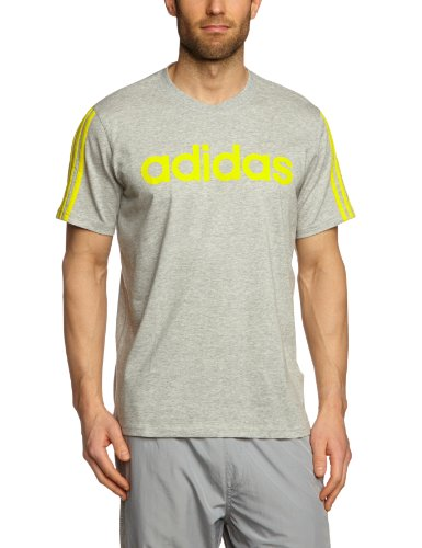 Adidas Essentials Linear - Maglietta a maniche corte da uomo, Grigio (medium grey heather/vivid yellow s13), XL Grigio - medium grey heather/vivid yellow s13