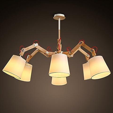 SSBY Modern Nordic minimalist wooden cloth six arm chandelier creative