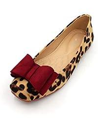 Zapatos Planos Rojos para Mujer Faux Suede Estampado Leopardo Mocasines Zapatos Pisos