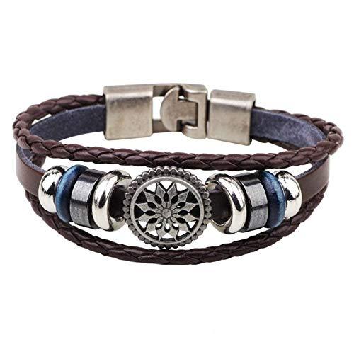 YABENI Frauen der Männer Weinlese Leder Handgelenk Band Armband Geflochtenen Seil Handgelenk Stulpe Charme Armband, Titan Charme Punk Gotik, Fit 7 ()
