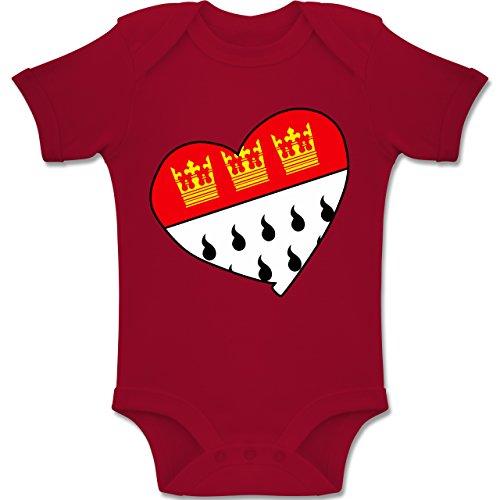 Städte & Länder Baby - Köln Wappen Herz - 6-12 Monate - Rot - BZ10 - Baby Body Kurzarm Jungen Mädchen
