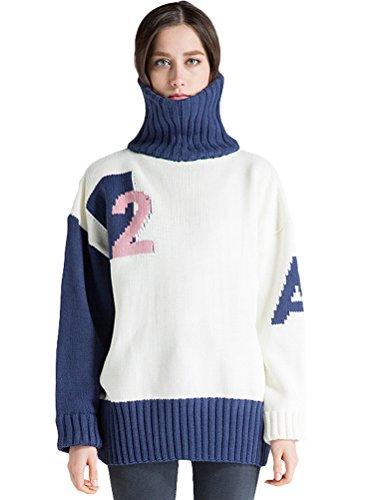 MatchLife Damen Rollkragen Strickpullover Langarm Top Style7-Weiß