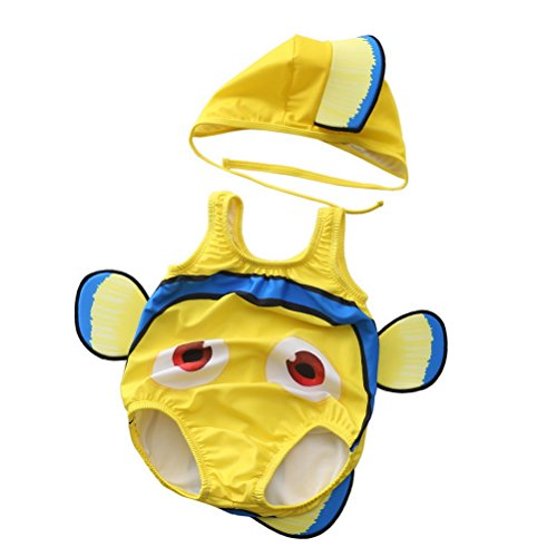 Clownfish Kostüm - ARAUS Unisex Baby Schwimmanzug Set Einteiler Badeanzug+Badekappe UV-Schutz Clownfish Kostüm für 0.5-20 Jahre