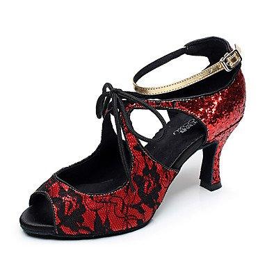 Silence @ Chaussures de danse pour femme en cuir Cuir latine/moderne des chaussures Chunky Talon Practise Silver