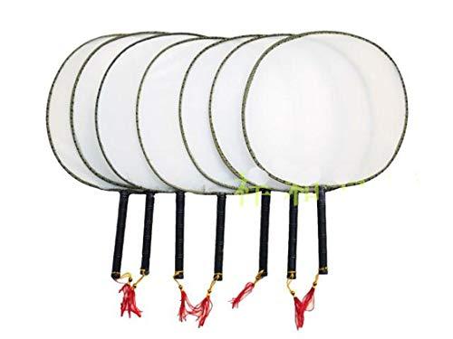 HMinegRong Weiß Vintage personalisierte Seide Hand Fan Griff Runde Handfächer Kind Student DIY Fine Art Programm Malerei, weiß, 21 x 21 cm Runde