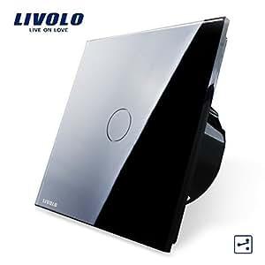Va et vient tactile Livolo interrupteur tactile sans neutre en verre Securit Norme CE Noir