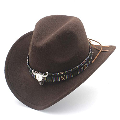 HXGAZXJQ Fashion Damen Herren Westernhut Cowboyhut Lady Jazz Cowgirl Sombrero Caps, Wolle, Coffee, 55-58 cm