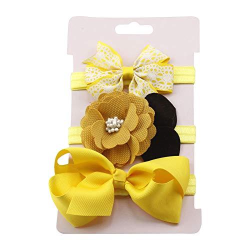 Gespout 3 Stück Baby Stirnbänder Elastisches Sonnenblume Stirnband Mädchen Kids Turban Haarband Stirnband Kopfband Baby Schmuck Babyschmuck Haarband für Kinder Babys Zubehör Festival Taufe