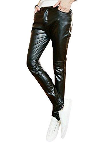 Botoni Pantalones Pantalones Slim de Cuero Hombre Metrosexual Esenciales Puros Hombres Pantalones Casuales